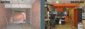 Proyecto de local comercial antes y después para peluquería